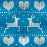 Blue Knitted deers sweater in Norwegian style.  Stock Image