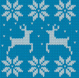 Blue Knitted deers sweater in Norwegian style. Royalty Free Stock Photos