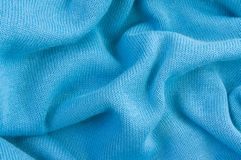 Blue knitted fabric, crumpled, texture, background stock image