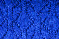 Blue knitted fabric texture Stock Image