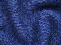 Blue Knitted Fabric Texture, Background Royalty Free Stock Images