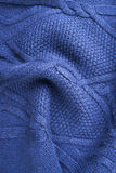 Blue Knitted Fabric Texture Stock Images