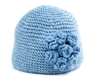 Blue knitted hat Stock Image