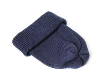 Blue knitted hat. Stock Image