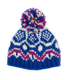 Blue knitted hat Royalty Free Stock Photos