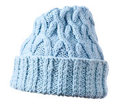 Blue  knitted hat on white background Stock Photography