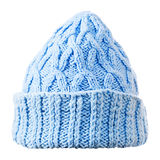 Blue  knitted hat on white background Stock Photo