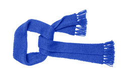 Blue knitted scarf isolate. Blue knitted scarf isolated on white background Royalty Free Stock Photography