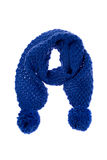 Blue knitted scarf. Isolate on a white background Royalty Free Stock Image