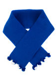 Blue knitted scarf with pompons Stock Photography