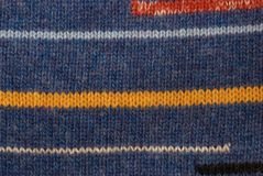 Blue knitted stripped background Stock Photo