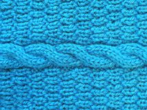 Blue knitted texture Stock Photos