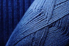Blue Knitting Threads Skein. A skein of blue wool knitting thread Stock Photo