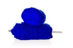 Blue knitting yarn with needlework Stock Photo