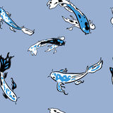 Blue koi carps in pond seamless pattern Stock Photo