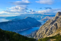Blue Kotor Bay Landscape. Beautiful and unique bay of Kotor in Montenegro Royalty Free Stock Image