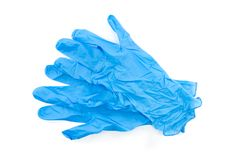 Blue lab gloves. Blue latex medical and laboratory gloves isolated on white background stock photography