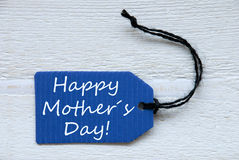 Blue Label With English Text Happy Mothers Day Stock Images