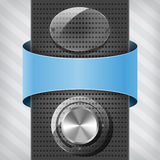 Blue label, glas plate and volume knob on column Stock Image