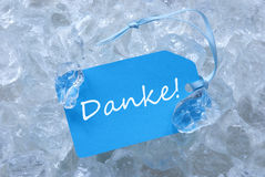 Blue Label On Ice With Danke Means Thank You Stock Image