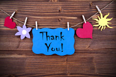 Blue Label with Thank You Stock Images