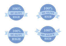 Blue labels high quality. Set of blue labels high quality isolated on white background. Vector illustration Stock Image