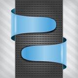 Blue labels with metallic column Stock Photos