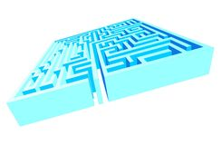 Blue Labyrinth Maze. A Blue metaphoric and perdpective Labyrinth Stock Images