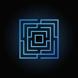 Blue labyrinth or maze icon Royalty Free Stock Images