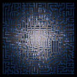 Blue labyrinth, maze - top view Royalty Free Stock Images