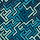 Blue labyrinth seamless texture with grunge effect royalty free illustration