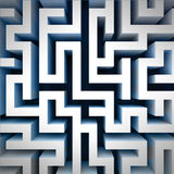Blue labyrinth wall structure in top perspective view Stock Images