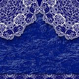 Blue lace background in ethnic style. Royalty Free Stock Image