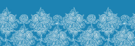 Blue lace flowers horizontal seamless pattern. Vector Blue lace flowers elegant horizontal seamless pattern background ornament with hand drawn line art floral stock illustration