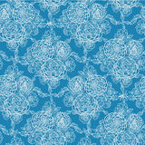 Blue lace flowers seamless pattern background. Vector Blue lace flowers elegant seamless pattern background with hand drawn line art floral elements stock illustration