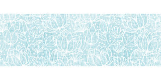 Blue lace flowers textile horizontal border Royalty Free Stock Image