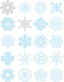 Blue lacy ornaments collection. Collection of icy blue 20 ornaments royalty free illustration