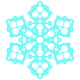 Blue lacy snowflake. Vector illustration. Lacy snowflake. Vector illustration. Lacy napkin. Winter illustration. Christmas. White background. Bubbles Stock Image