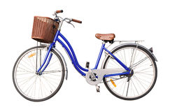 blue ladies bicycle isolate on white background Stock Images