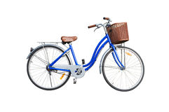 Blue ladies bicycle on white background Royalty Free Stock Photo