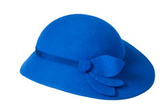 An blue ladies hat. Isolated on white Royalty Free Stock Images