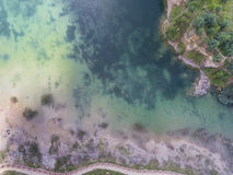 Blue laggon see from above in old sand mine in Poland. Royalty Free Stock Photography