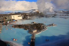 Blue lagoon. Geothermal power plant and famous Icelandic spa Stock Photo