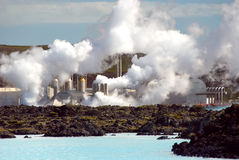 Blue Lagoon. View of industry to exploit geothermal energy near the Blue Lagoon in Reykjavik Royalty Free Stock Photography