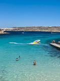 Blue Lagoon. Crystal clear waters of Blue Lagoon in Comino Island, Malta Stock Photos