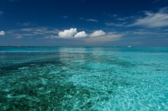 Blue Lagoon. Blue caribbean water on a sand bank Royalty Free Stock Photography