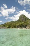 The Blue Lagoon. MW Limestone rocks in famous Blue Lagoon in the Yasawa Islands of Fiji royalty free stock photos