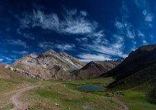 Blue lagoon in aconcagua mountain national parc south america argentina mendoza Stock Photo
