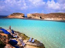 Blue lagoon beach. Lagoon in Malta with turquoise water Stock Photos
