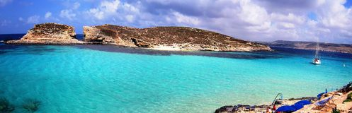 Blue lagoon beach. Lagoon in Malta with turquoise water Royalty Free Stock Photos